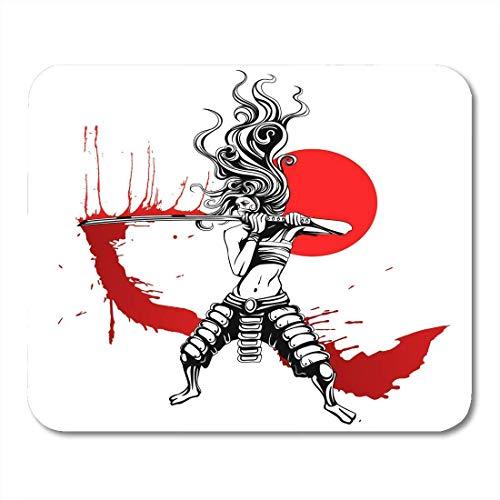 Alfombrillas de ratón Agresión Rojo Japón La chica con espada samurái sangrienta Ninja Arts Alfombrilla de ratón para portátiles Computadoras de escritorio Alfombrillas de ratón Material de oficina