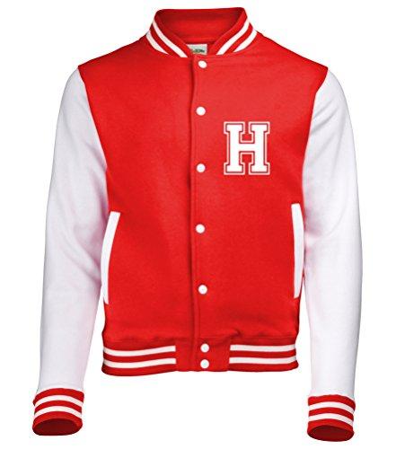 Edward Sinclair Personalisierbare Varsity-Jacke für Kinder mit Namen auf der Rückseite und Initialen auf der Vorderseite., rot