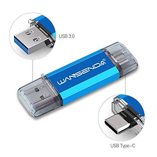 Clé USB 32 Go USB 3.0 Type C Clé USB C Wansenda OTG USB Flash Drive pour Type C appareils Android/PC/Mac (32Go,Bleu)