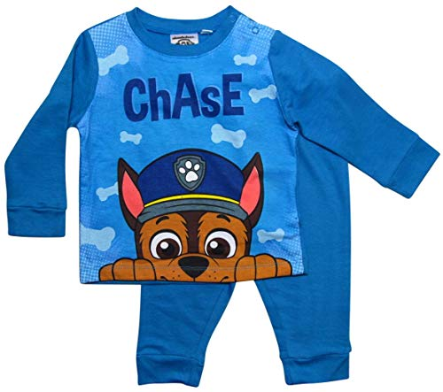 PAW PATROL Schlafanzug Jungen Lang Pyjama (Blau, 80-86)