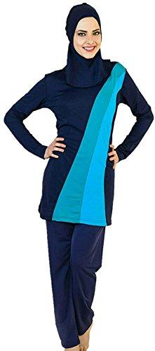 WOWDECOR Burkini Muslimischer Badeanzug für Muslimische Damen Frauen Mädchen Full Cover Hijab, Islamische Muslim Bademode Schwimmanzug UV Schutz Türkisch (Blau, Asien 3XL=EU-Größe 44-46)