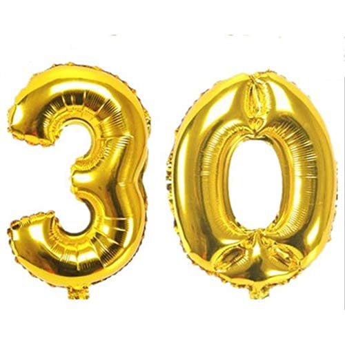 WZRQQ 1 set van 16 32 inch (16 cm), aluminiumfolie, ballon, roségoud, zilver, Hallo 30 verjaardagsbal, 30 verjaardag, verjaardag, feestdecoraties