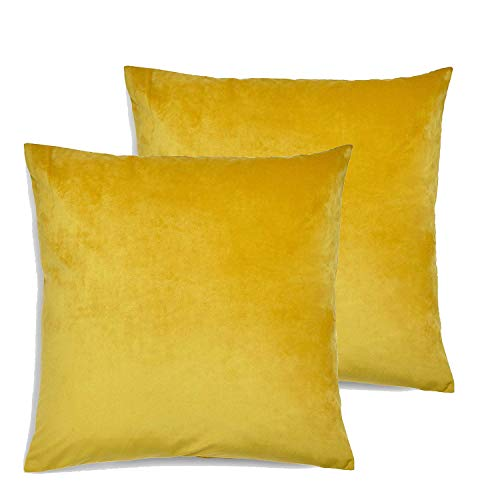 Maple Textiles Set of 2 Super Soft Luxurious Velvet Cushion Covers (45cm x 45cm) Made in the UK Ochre (Mustard Gold)
