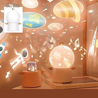 Ms.0【2020最新版】プラネタリウム 白 ベッドサイドランプ 癒しグッズ タイマー付 8曲の音楽 6パターン投影映画フィルム 360度回転機能 USB充電式