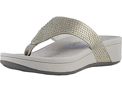 Vionic Women's Naples Platform Sandal - Toe Post Sandals with Concealed Arch Support Pewter 9 M US