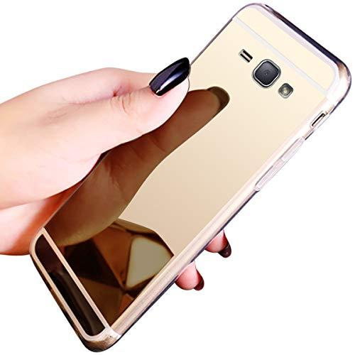 JAWSEU Compatible avec Samsung Galaxy J1 2016 Coque Miroir Silicone,Cristal Brillant Bling Glitter Miroir Housse de Protection Slim Souple Gel Paillettes Strass Case Femme Fille,Or