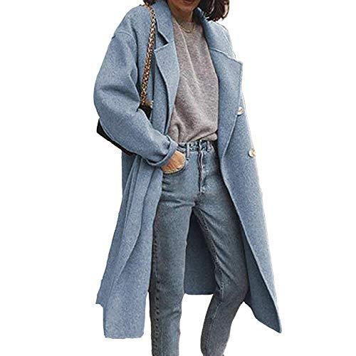 Otoño Invierno Mujer Cortavientos Solapa Recta Color Sólido Casual Doble Botonadura Largo De Doble Cara Abrigo De Lana