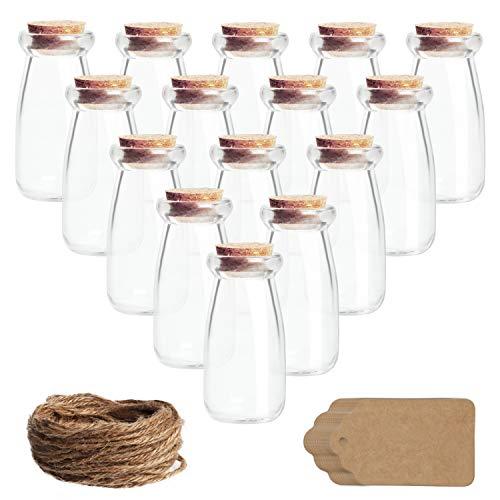 BELLE VOUS Frascos Cristal Tapones de Corcho, Etiqueta y Cordel (Pack de 30) 100 ml Mini Botellines Cristal Herméticos Tarro Cristal Pequeño para Regalos de Bodas, Fiesta, Especias Cocina, Mermelada