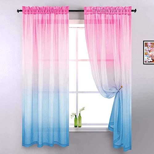 Voile Vorhang Mit Stangendurchzug Transparent Gardine 2 Stücke Gaze Paarig Fensterschal Vorhänge 160 cm x 132 cm (H x B) 2er Set