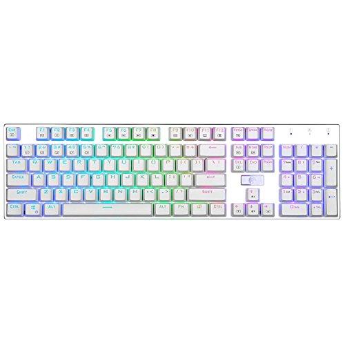 e元素メカニカル式ゲーミングキーボード 青軸アンチゴーストキー RGB発光LEDバックライト付き USB有線ゲームに最適なキーボード 標準US配列104キー (ホワイト)