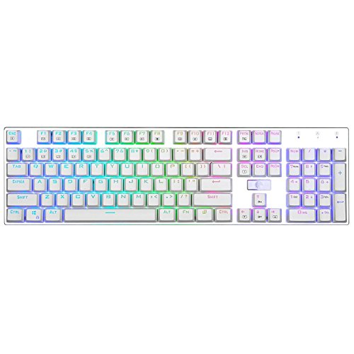 Z-88 RGB Backlit Mechanical Keyboard, E-Element Tactile Brown Switch Ergonomic Design USB Wired Gaming Keyboard,White
