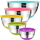 Mixing Bowls with Airtight Lids, Wildone Stainless Steel Nesting Mixing Bowls Set of 5, with Non-Slip Colorful Silicone Bottoms, Size 7, 3.5, 2.5, 2, 1.5QT, Ideal for Mixing & Serving