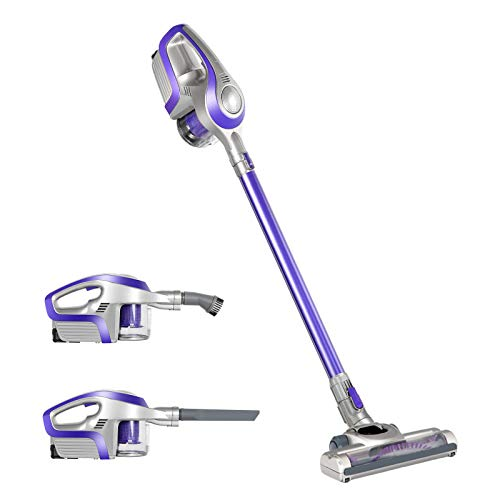 Devanti Handstick Vacuum Cleaner 2 in 1 Cordless Handheld Vacuum Cleaner Bagless Upright Sweeper Pet Hair Electric Broom Lightweight Battery Rechargeable Family and Car Cleaning 150W Purple and Grey