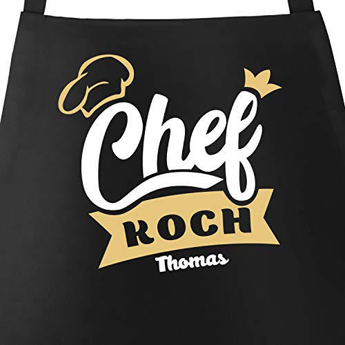 SpecialMe® Küchen-Schürze mit Namen Schriftzug Chefkoch/Chefköchin individualisierbar Kochschürze Männer Frauen personalisierte Geschenke schwarz Unisize