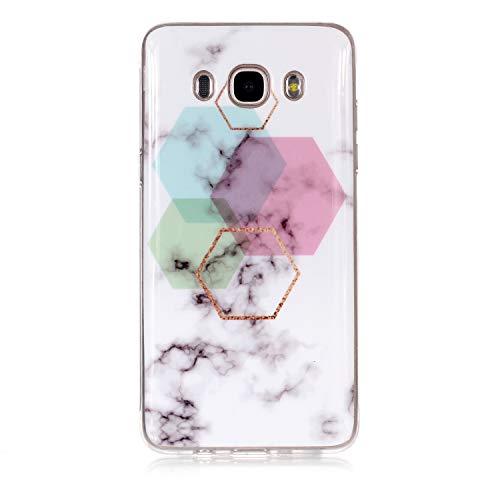 XINYIYI Coque pour Samsung Galaxy J5 2016/J510, Ultra Mince Creative Coloré Silicone Gel TPU Bling Couverture en Marbre Glitter Antichoc Doux Case Etui de Protection pour Galaxy J5 2016/J510