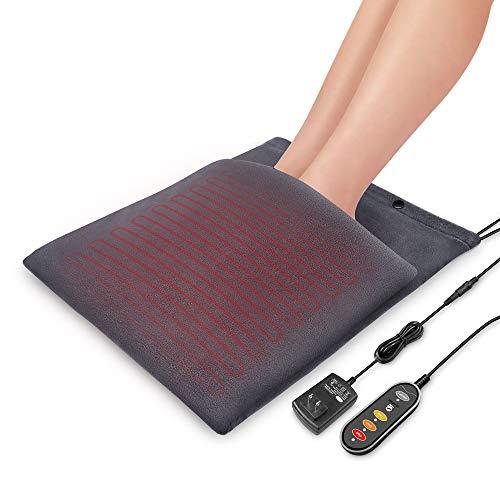Snailax 2-in-1 電気足温器 フットウォーマー 電気敷き毛布 ホットマット 60mins自動シャットオフ 適切な12V 過熱保護 75x37cm エアコン対策 3段階で温度調節