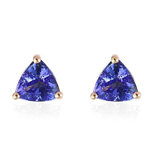 ILIANA AAA Tanzanite 18ct Yellow Gold Stud Earrings for Women, 1 Ct