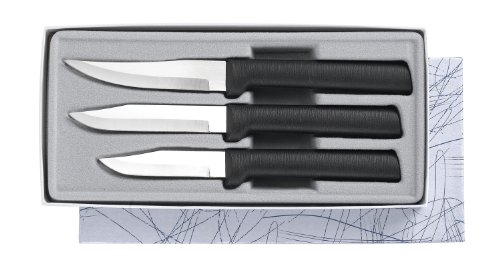 Rada Cutlery Paring Knife Set – 3 Knives with Stainless Steel Blades And Black Stainless Steel Resin Handles Made in the USA