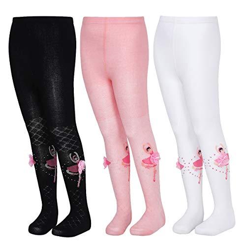 TiaoBug 3 Pack Mädchen Ballett Strumpfhosen Baumwolle Tanz Socke Strümpfe mit Ballerinas Tänzerin Design Winter Herbst Pantyhose Mehrfarbig S