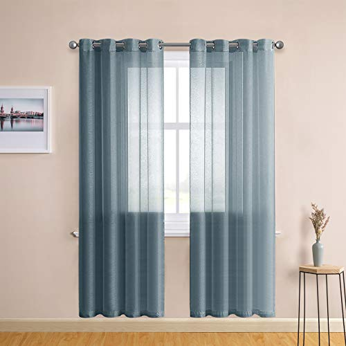 CUTEWIND Blue Haze Sheer Curtains Grommet Top 84 Inch Length for Living Room Sheer Curtains & Drapes Semi Voile Sheers Window Treatment Panels for Bedroom Windows (W54×L84 Inch, Blue Haze, 1 Set)