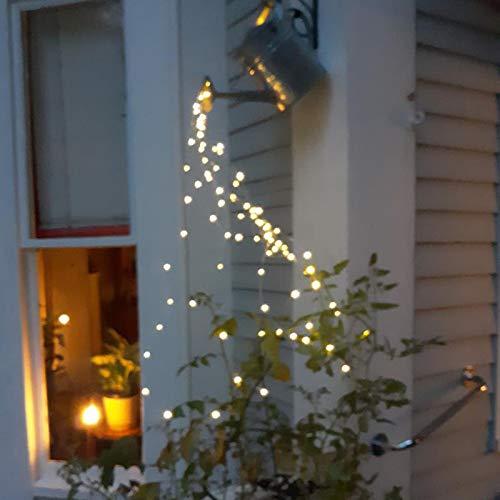 XeinGanpre – Lichterkette für Garten, Kupferdraht, Fairy Lights, LED-Lichterkette, solarbetrieben, Dekoration für den Garten (batteriebetrieben, warmgelb)