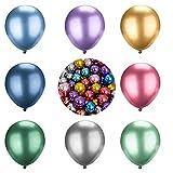 HONGECB Globos Metalizado, Globos Metálicos de Fiesta, Globos de Fiesta de 8 Colores Metálicos, Decoración de Cumpleaños, para Fiestas, Bodas, Propuestas, Reuniones y Otras Celebraciones, 50 Piezas