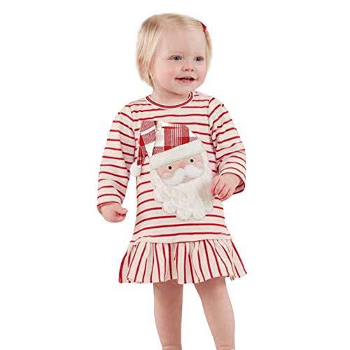 VESNIBA Vestido de Navidad con volantes para bebé o niña, de manga larga, a rayas, 3D, con volantes rojo 90 cm
