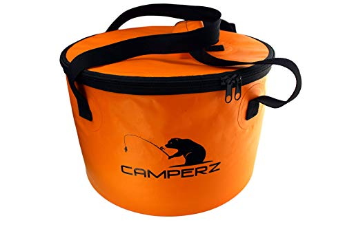 CAMPERZ Faltbarer Eimer, Faltschüssel für Angeln, Gartenarbeit - zusammenklappbarer Falteimer, Wassereimer, Angel Eimer mit Deckel und Reißverschluss 16 Liter