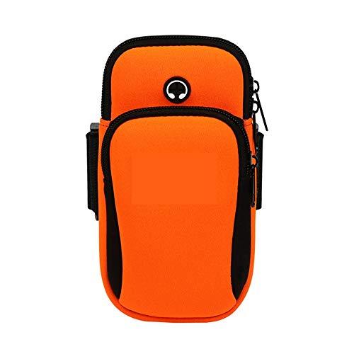 MiOYOOW Brazalete para correr, soporte para teléfono móvil con agujeros para auriculares, banda deportiva para el brazo para teléfono celular de 5 pulgadas y 6 pulgadas