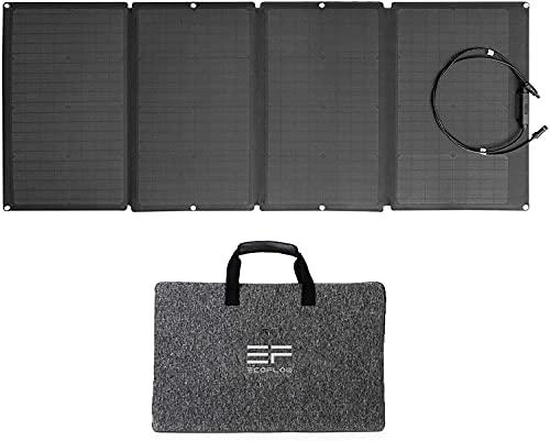 Panel solar portátil EF ECOFLOW 160W Portable Solar Panel para EFDELTA, cargador solar plegable encadenable para estación de energía impermeable EFDELTA IP67 para acampada, al aire libre