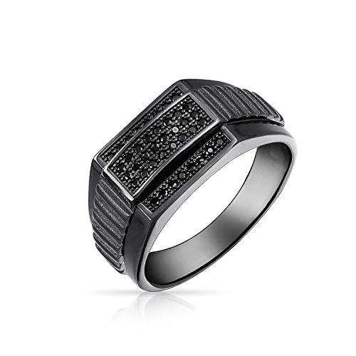 Bling Jewelry Geometrica Zirconia Cubica Nero di Rodio CZ Argento Sterling 925 Signet Anello di Campionato Peri Uomini