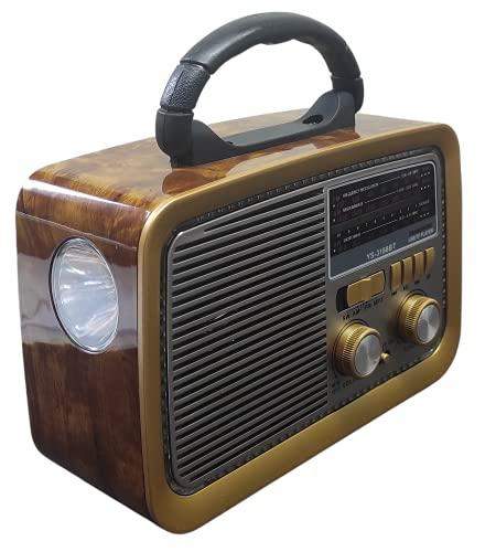 Rádio Retrô Portátil Mp3 Usb Cartão Sd Am Fm C/bluetooth (Marrom Amarelado)