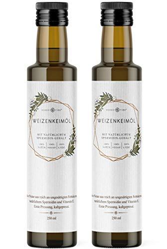 Weizenkeimöl von Nordic Pure | Kaltgepresst mit Spermidin und viel Vitamin E | Weizenkeime mechanisch gepresst (500 ml)