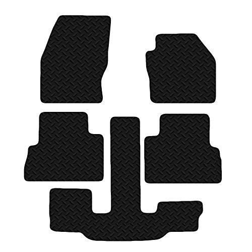 Carsio Lot de 5 Tapis de Sol en Caoutchouc Noir pour Ford C-Max Grand 2013–2016 3 mm CUT-3259