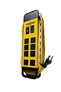 Yellow Jacket 5148 Modern 8-Outlet Metal Power Block with 2 USB Ports Yellow