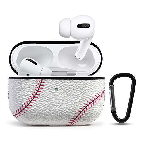 HIDAHE Case for Airpods Pro, Airpods Pro Cover, Airpods Pro Skin Accessories Sport Pattern Airpod Pro Cover Leather Case for Apple Charging Case for AirPods Pro, Baseball