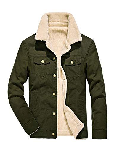 Omoone Men's Button Up Vintage Sherpa Fleece Lined Denim Biker Jacket Jean Coat (Army Green, Small)