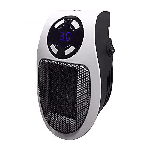 DDH Mini Calentador de Espacio, Calentador portátil con termostato Ajustable, Temporizador y Pantalla LED, Adecuada para el Dormitorio de la Oficina en casa-Black