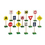 Guidecraft 7' Block Play Traffic Signs - Children's Educational Toys for Traffic Knowledge Learning, Kids Block Play