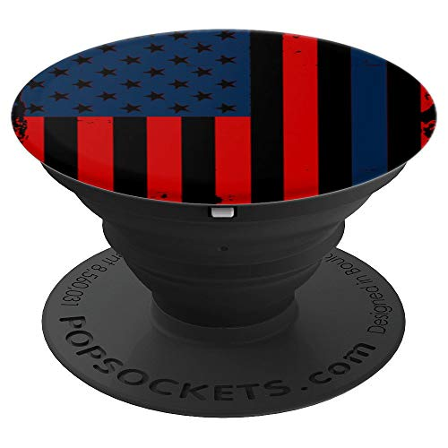 American Flag Veteran Patriot Blue Line Cell Phone Case Gift PopSockets Grip and Stand for Phones and Tablets