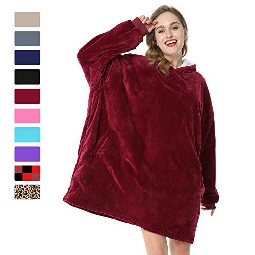 LetsFunny Oversized Hooded Blanket Sweatshirt, Super Soft Warm Comfortable Sherpa Wearable Blanket with Giant Pocket, for Adults Men Women Teenagers Kids, One Size Fits All (Wine Red, Adult)