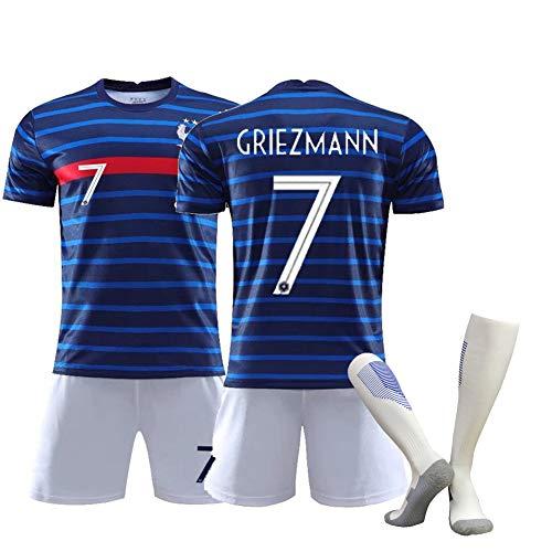 CBVB Fußballanzüge, Mbappé, Griezmann, 2020-2021 Frankreich Mannschaftsfußballuniformen, Männer und Frauen Erwachsene Kinder, Trikots trainieren HOME7Griezmann-L