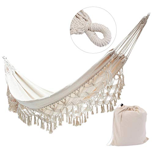 Airpow Nordic Tassel Hammock Bed (Without Frame), Double Hammock Swing Bed Compatible with Space Saving Steel Stand, with Portable Carrying Case for Travel, Beach, Yard, Patio (Beige, from US)