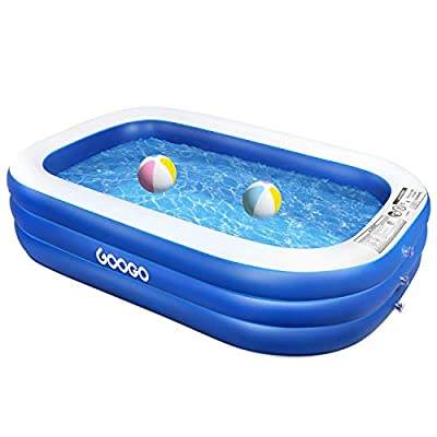 """GOOGO Family Inflatable Swimming Pool, 92""""x56""""x20"""" Full-Sized Inflatable Lounge Pool for Kiddie, Kids, Adults, Easy Set Swimming Pool for Backyard, Summer Water Party, Outdoor"""