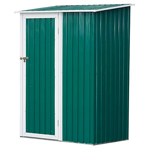 Outsunny 4.5ft x 3ft Corrugated Garden Metal Storage Shed Outdoor Equipment Tool Sloped Roof Door w/Latch Weather-Resistant Paint Green