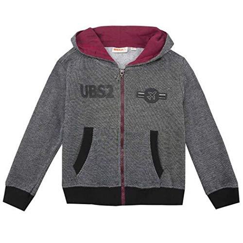 UBS2 Jungen Sweatjacke Kapuzenjacke schwarz meliert angeraut (128, Jacke schwarz)