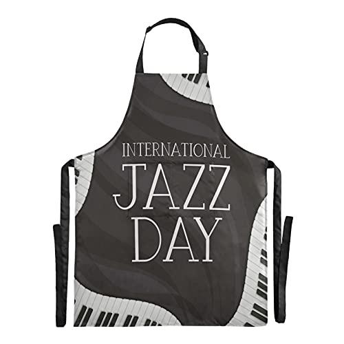 FVFV Jazz Blanc Noir Clavier De Piano Étanche Tablie Cuisine Tabliers de Bavette pour Serveuse La Cuisson des Hommes Enfant en avec Sangle Réglable pour Le Cou avec 2 Poches