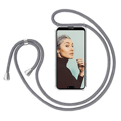 ZhinkArts Handykette kompatibel mit Huawei P20 Lite - Smartphone Necklace Hülle mit Band - Handyhülle Case mit Kette zum umhängen in Grau