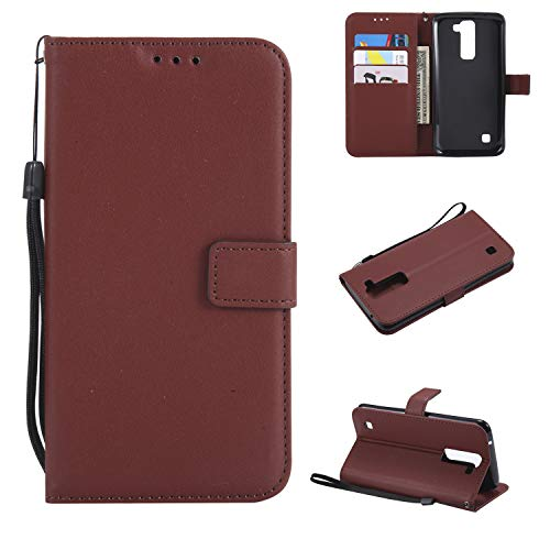 Snow Color LG K8 K350N / K7 X210 Hülle, Premium Leder Tasche Flip Wallet Case [Standfunktion] [Kartenfächern] PU-Leder Schutzhülle Brieftasche Handyhülle für LG K8 / LG K7 - COMS020847 Kaffee