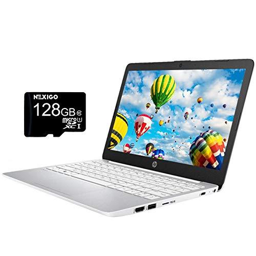2020 HP Stream 11.6 Inch Laptop, Intel Atom x5 E8000 up to 2.0 GHz, 4GB RAM, 64GB eMMC, Win10 S (1 Year Office 365 Personal Included), White + NexiGo 128GB MicroSD Card Bundle
